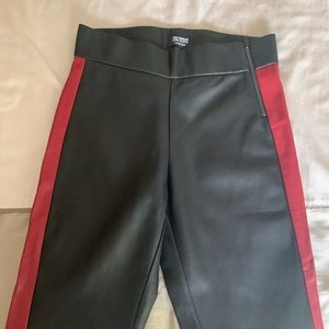 Faux Leather Leggings Red Stripe Accent by Zara